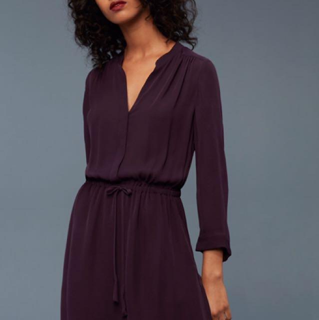Worn Once - Aritzia Babaton Bennett Dress - Maroon / Silk Dress