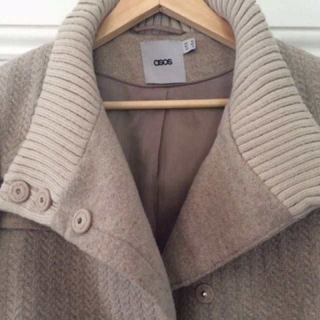 Asos Grey/light Brown Winter Coat