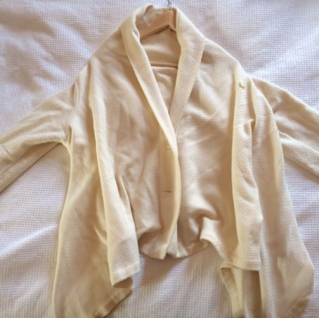 Asymmetrical (long Sides And Shortish Back) Cream Cardigan