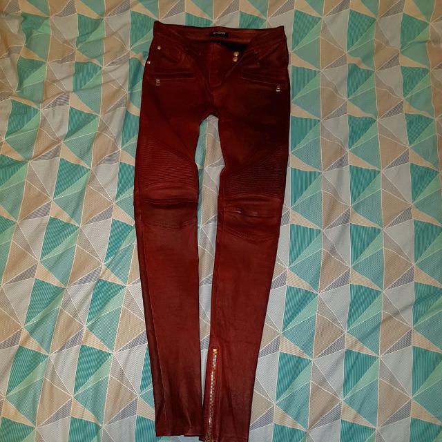 Balmain Moto-style Leather Skinny Pants