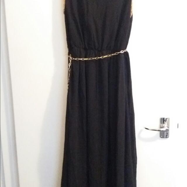 Black And Gold Maxi Dress Size M