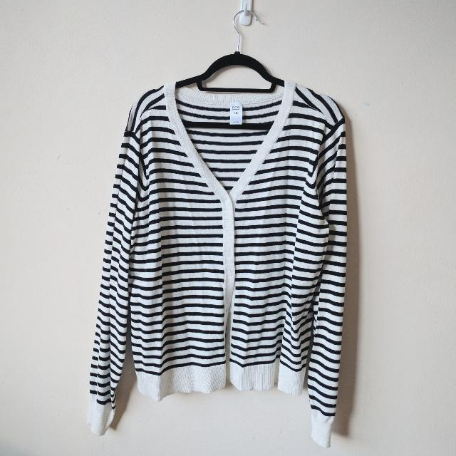 Black And White Striped​ Cardigan XXL