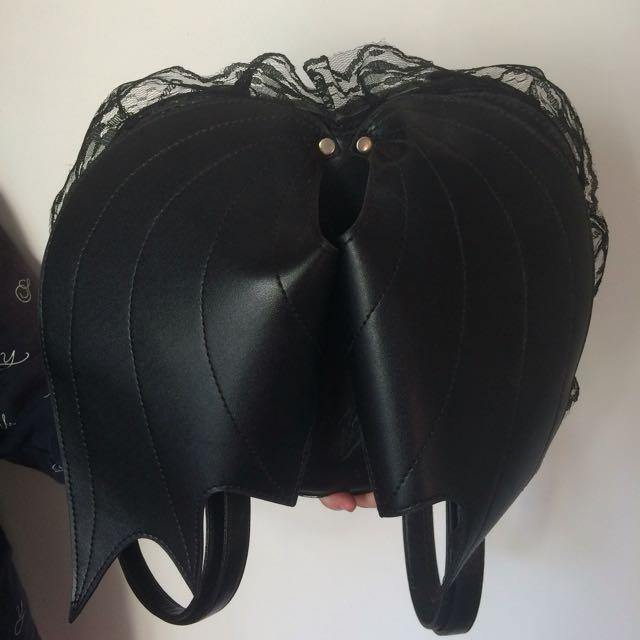 Black Bat Wings Heart PU Backpack