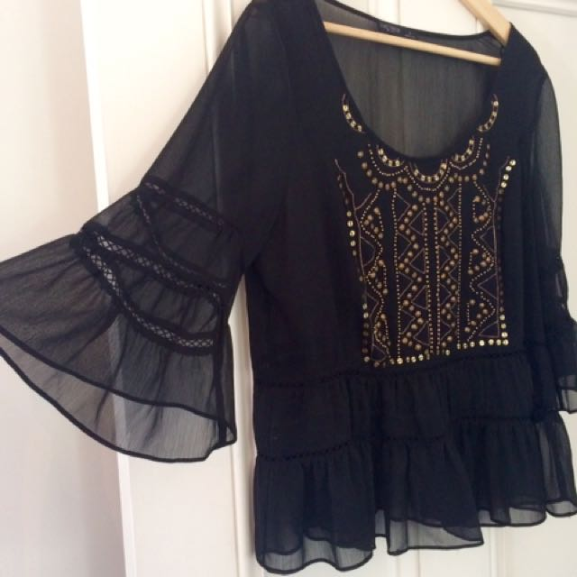 Black Beaded Sheer Bell Sleeve Top