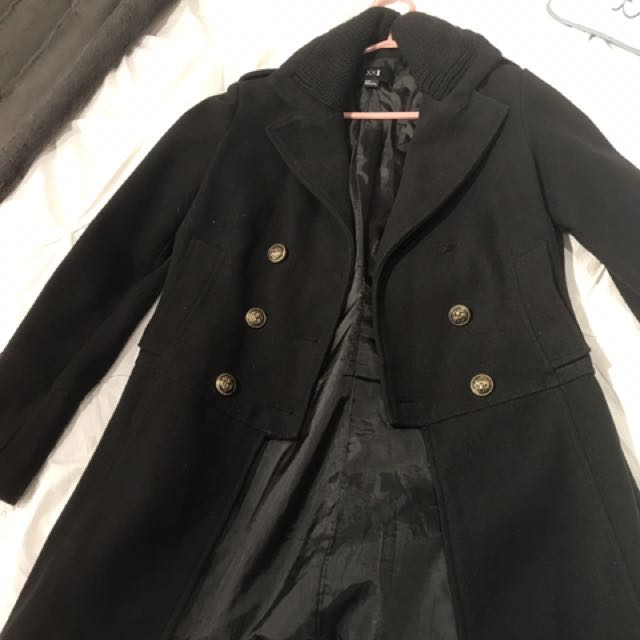 Black Forever 21 Peacoat (S) - Missing Button