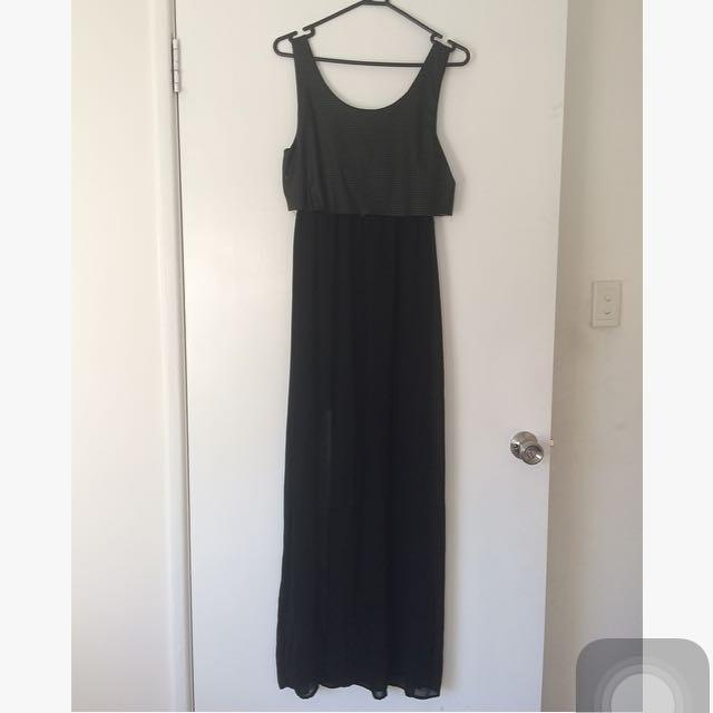 Black Sleeveless Sheer Maxi Dress
