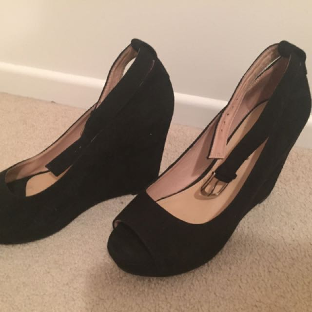 Black Suede Wedges From Overland