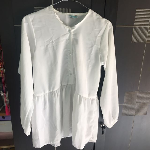 Blouse White Peplum