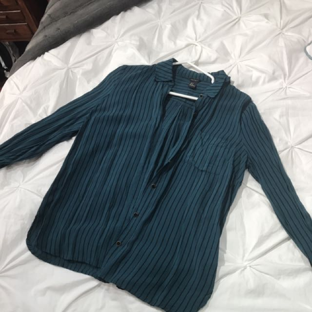 Blue And Black Striped Forever 21 Dress Shirt (S)