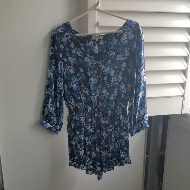 Blue Cherry Blossom Playsuit Size M