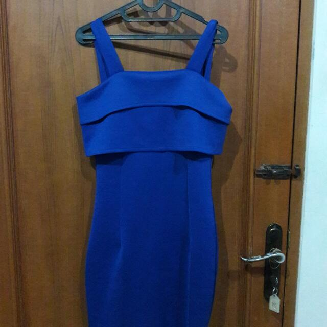 Blue Scuba Wedges Dress