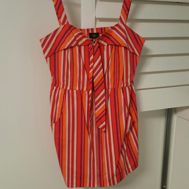 Bright Striped Orange Red Cocktail Dress Size 12