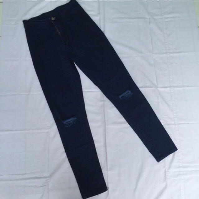 Celana HW Jeans Ripped / Celana HW Jeans Sobek