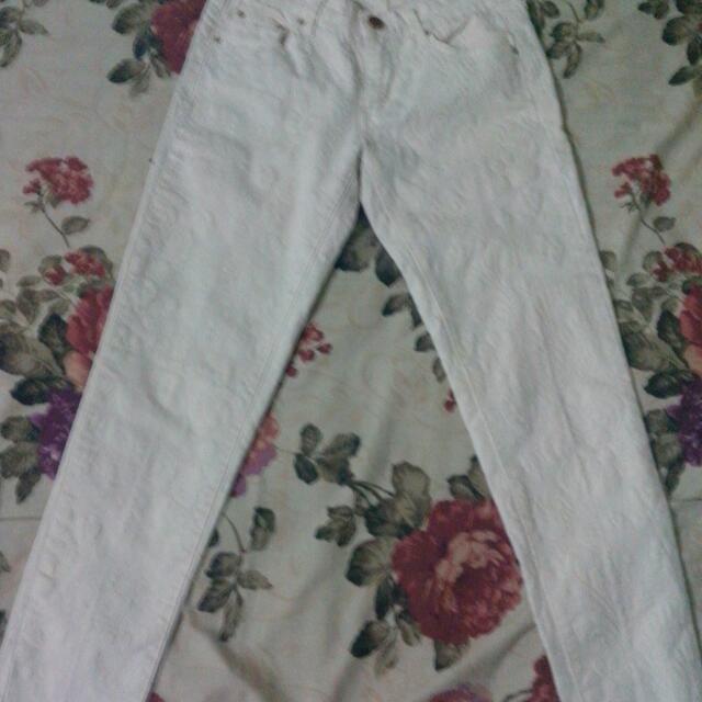 Zara Original Celana Panjang Cream Corak Bunga Emboss