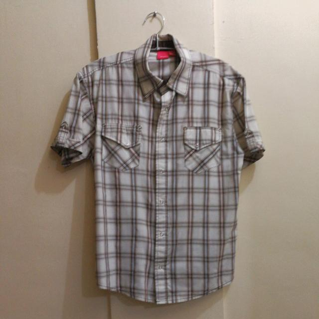 Chequered Brown And White Short-sleeved Polo Shirt (small)