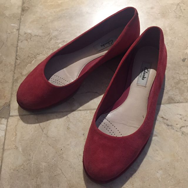Clarks Red Suede Flats