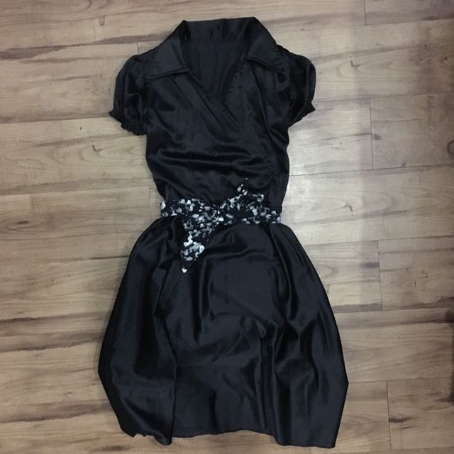 Classy Black Satin Dress