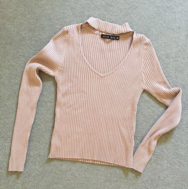COLLAR NECK LONG SLEEVE CROP