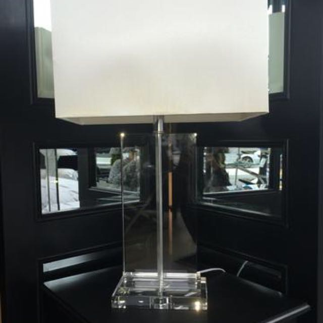 Crystal Table Lamp Provincial Satin Shade White X2