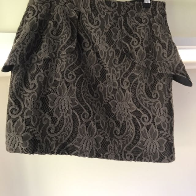 Cue Olive Peplum Skirt