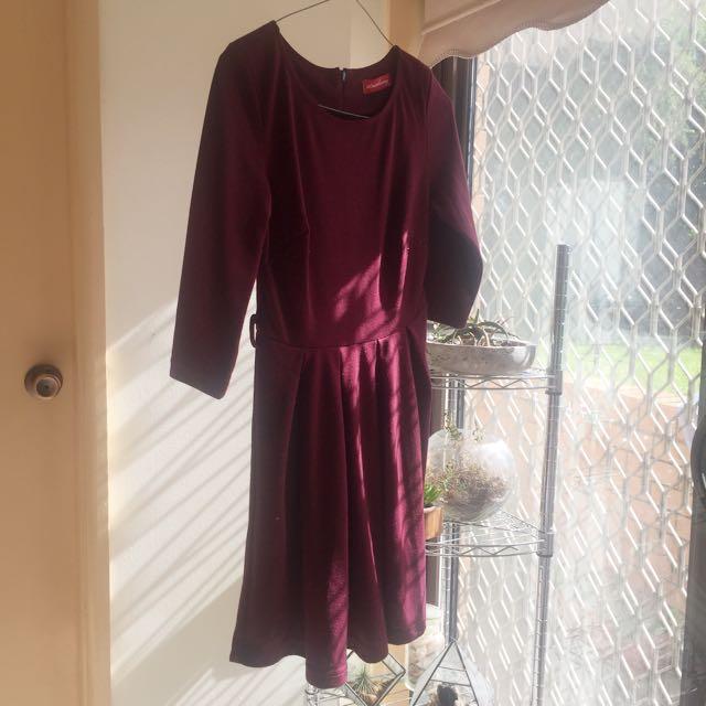 Deep Purple 1/4 Sleeve Dress