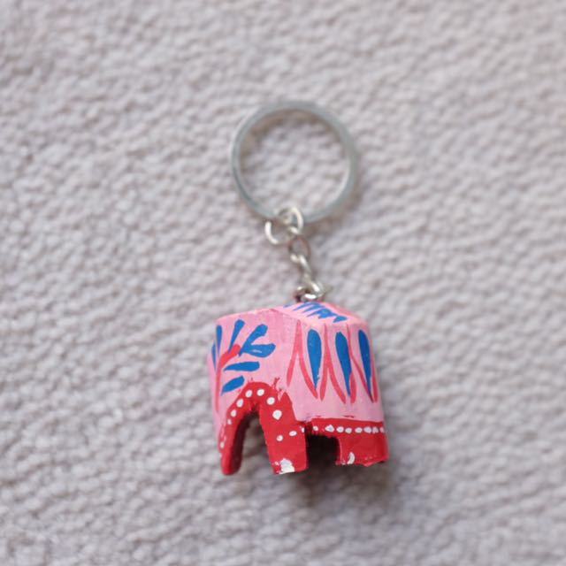 Elephant Keychain Wooden Pink