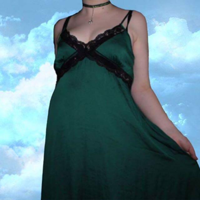 Emerald Green silky slip on night gown