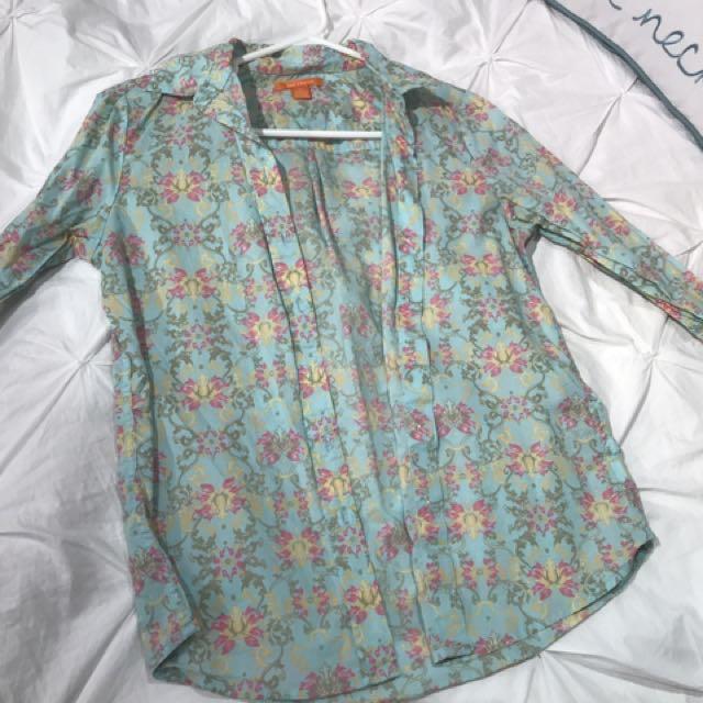 Floral Joe Fresh Dress Shirt (S)