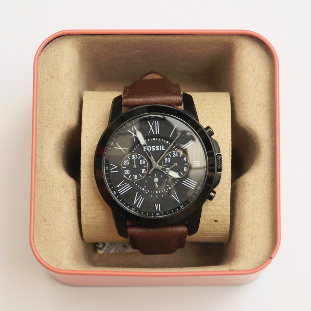 Jual Jam Tangan Fossil Fs4885 Welcome To Es3862 Georgia Gray Leather Watch Rose Gold Coklat Original Grant Chronograph Like New Preloved