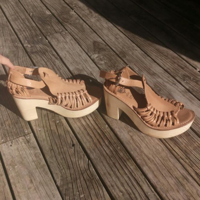 Genuine Leather Tan Wedges With Wooden Heel