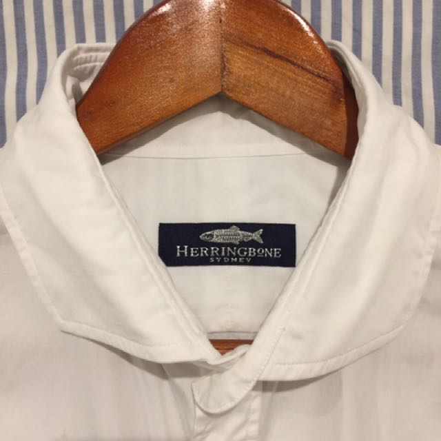 Herringbone White Business Shirts X 3