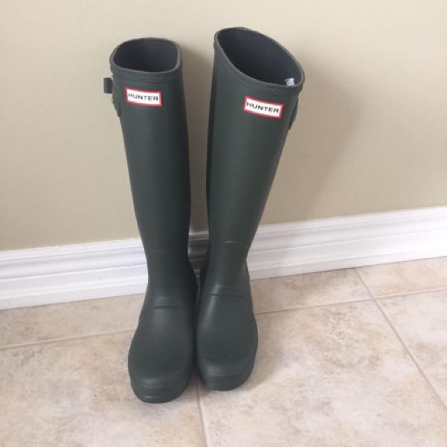 Hunter Green Rain Boots Tall