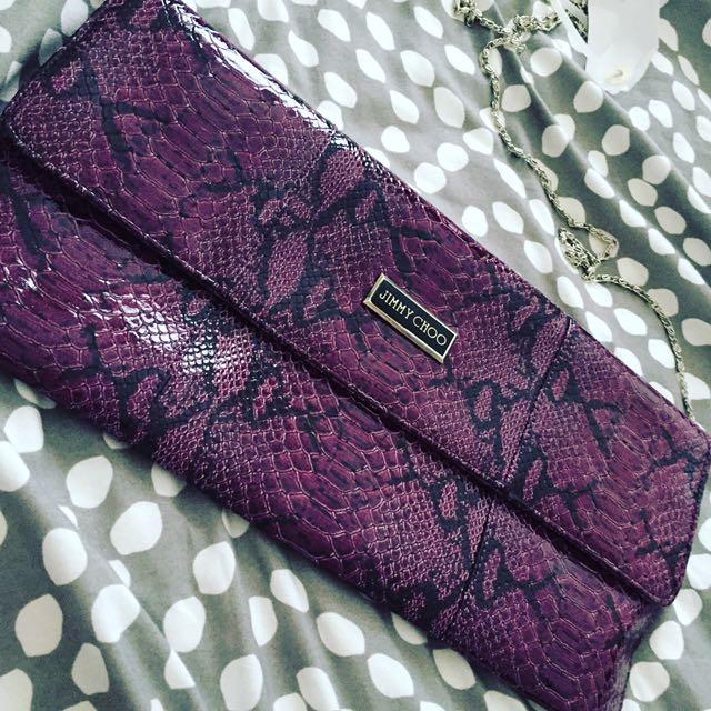 Jimmy Choo Snakeskin Pattern Purple Purse