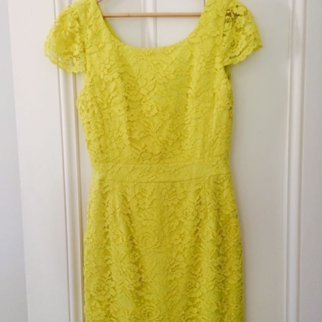 Lace Cocktail Dress-Lemon Yellow