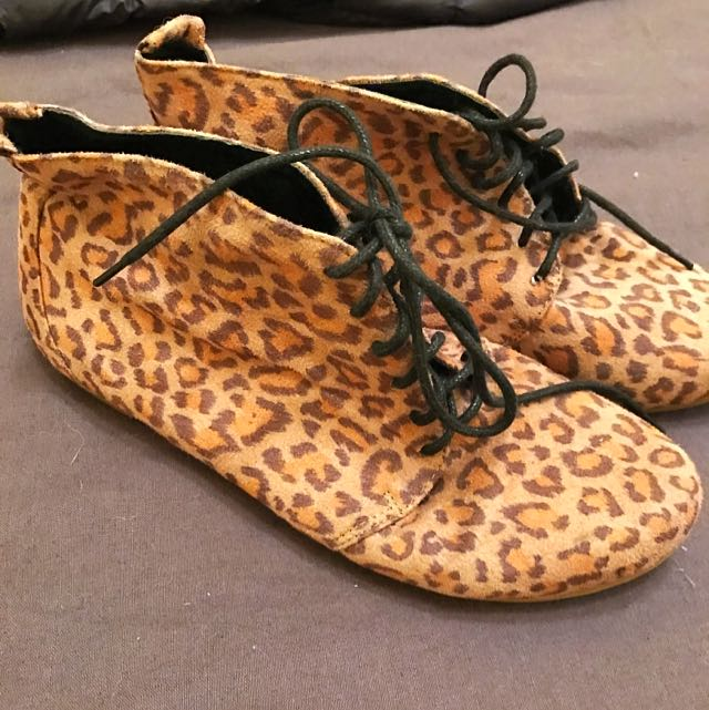 leopard tie-up boots