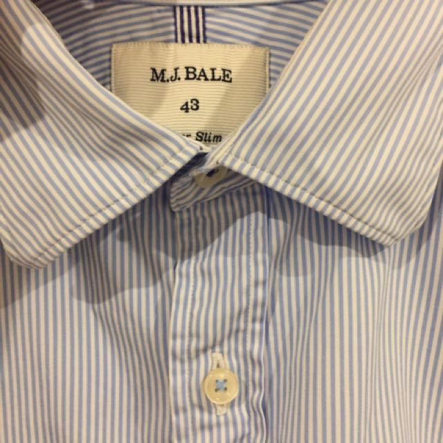 M J Bale Business / Dress Shirt Blue Stripes