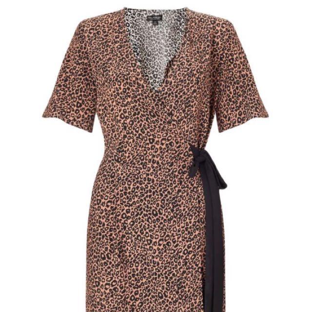 Miss Selfridge Animal Print Wrap Midi Dress