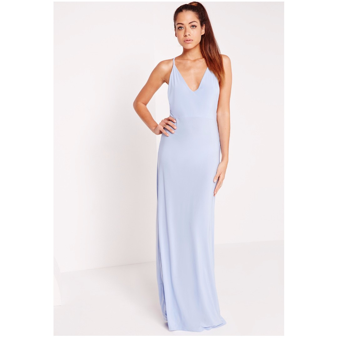 Missguided V plunge slinky maxi dress