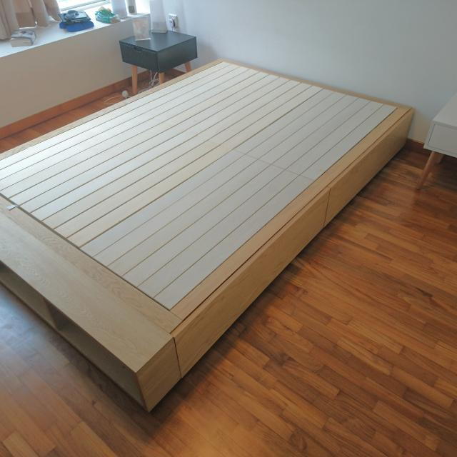 separation shoes 80889 285d2 Muji double Oak Storage Bed With Additional Storage Box ...