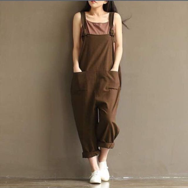 Overall Pants Brown Casual Khaki Coffee Large Size 14