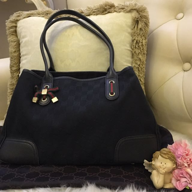 c6983868dd4 Authentic GUCCI Princy GG Canvas tote bag Black 163805