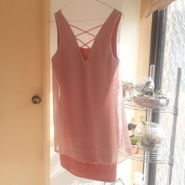 Salmon/Peach Pink Spring Dress