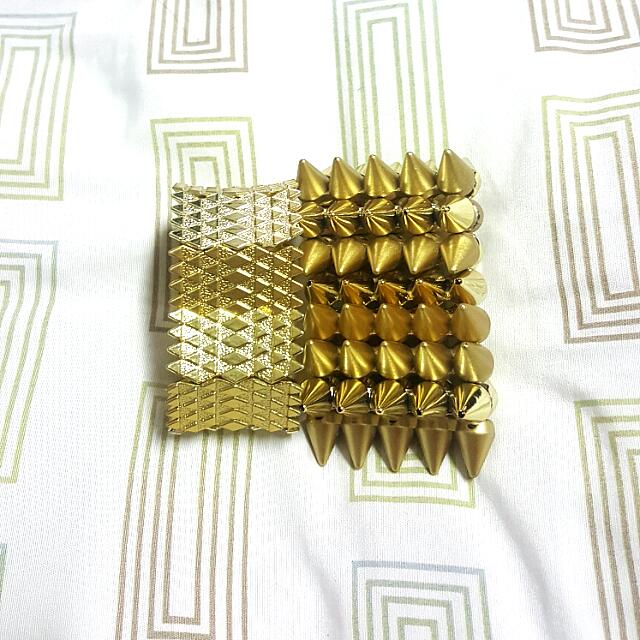 Spiked Gold Bangle Bundle (2 Items)