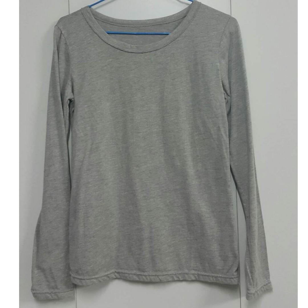 簡約百搭圓領長袖修身打底T恤上衣-灰均碼