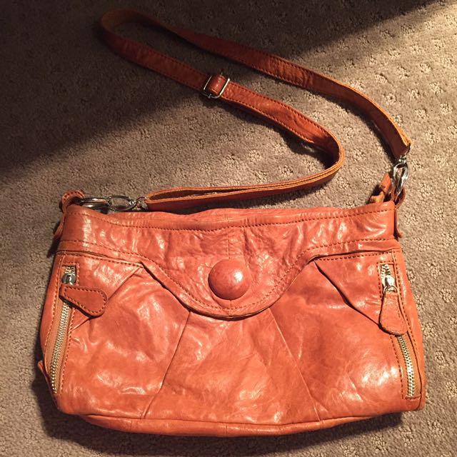 Tan Leather Cross Over Bag