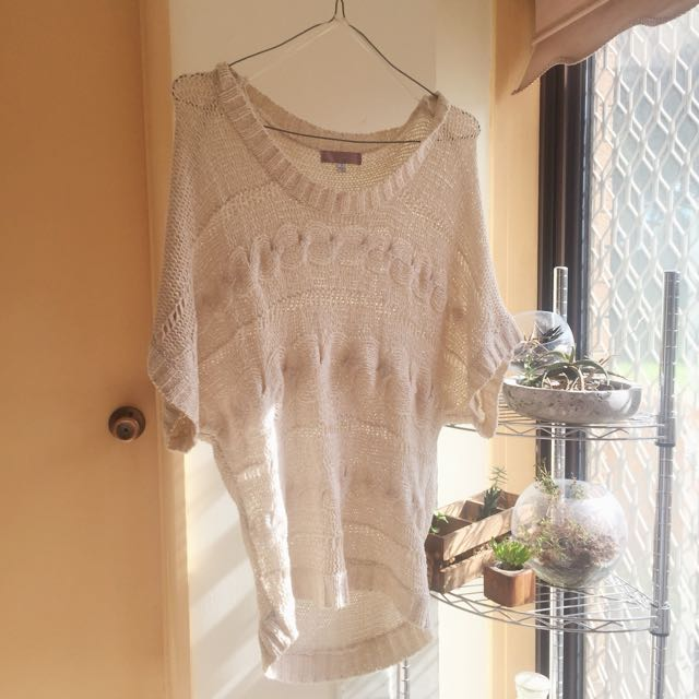 TEMPT Batwing Knitted Cream Jumper