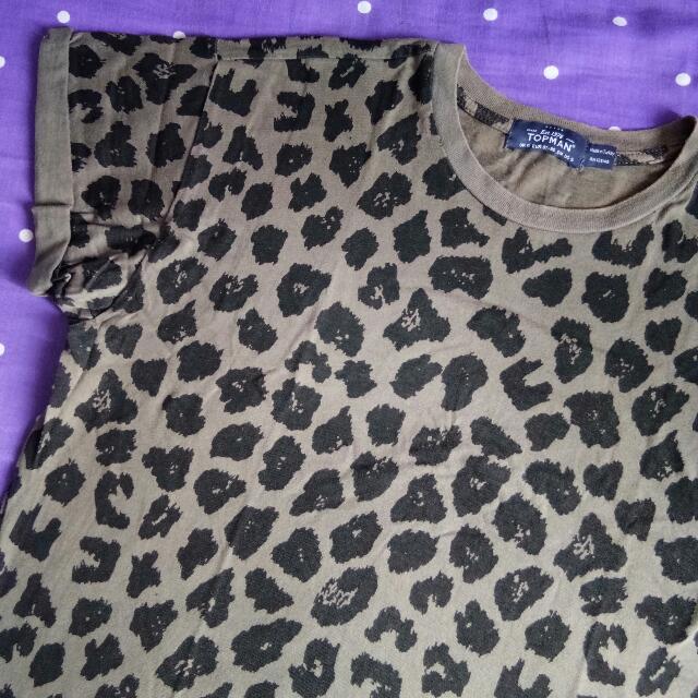 TOPMAN Leopard Printed T-Shirt M