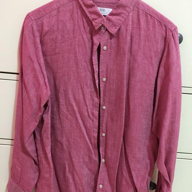 Uniqlo粉色棉麻襯衫