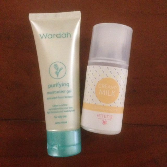 Wardah Purifying Moisturizer Gel + Emina Cleansing Lotion