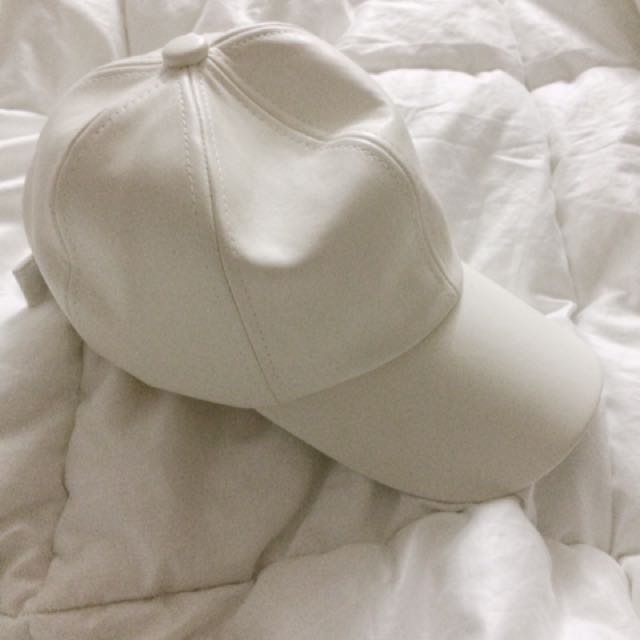 White Leather Cap For Women